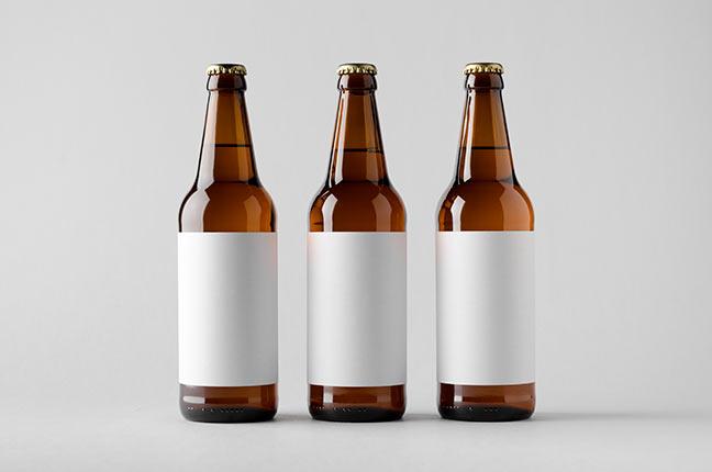 rótulo de garrafa de vidro