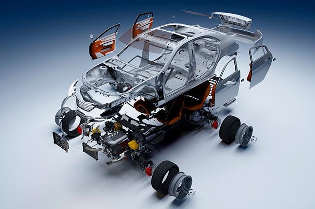 detalhes das peças de um carro em 3d